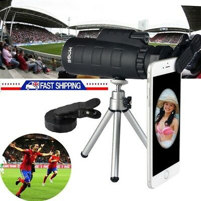 UK 50X60 Zoom Optical Lens Monocular Telescope + Clip + Tripod For Smart Phone