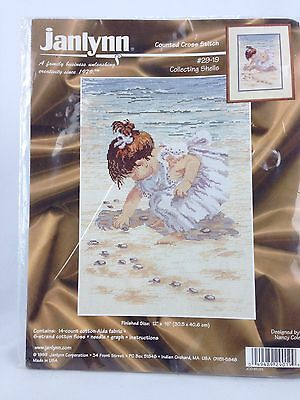 Janlynn Counted Cross Stitch Kit Collecting Shells Toddler Girl Beach NEW 12x16