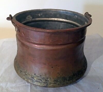 Vintage Hand Forged, Copper Kettle with Handle, Made In Greece