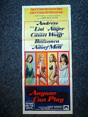 ANYONE CAN PLAY Original Vintage 1968 Aust Daybill Movie Poster Ursula Andress