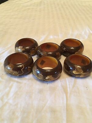Painted Wooden Napkin Rings Made In India Set Of 6