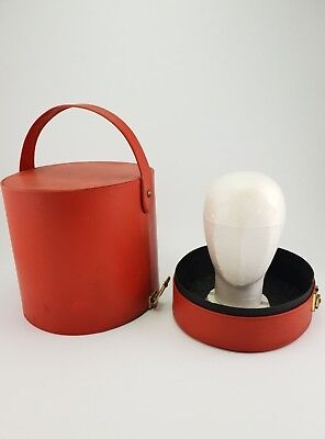 Vintage Hat Wig Travel Storage Case with styrofoam head 1970's