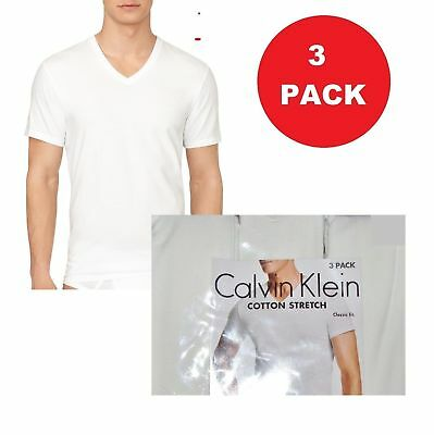 8946986af0c NEW MENS SMALL Calvin Klein 3 Pack White Cotton Stretch V Neck Classic T  Shirts