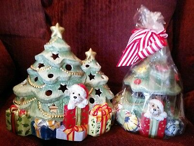 Fitz & Floyd For All Seasons 2 Different Puppy Christmas Tree Candle Holders