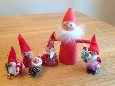 vintage LOT SWEDEN WOOD TOMTE CHRISTMAS Figures and ornaments