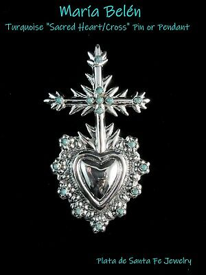 "Maria Belen ~Turquoise Sacred Heart/Cross~Oxidized 925 Pin OR Pendant~4"" Tall"