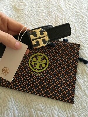 4c2b1a936fd3 TORY BURCH T LOGO Reversible Black Tigers Eye Leather LOGO Belt 1.5