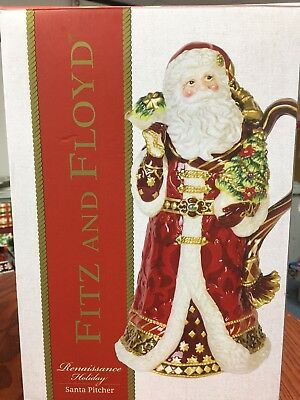 Fitz and Floyd Renaissance Holiday Santa Pitcher. New in Box.