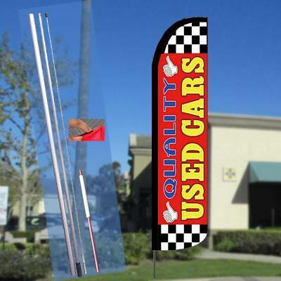 QUALITY USED CARS Red Windless Full Curve Top Advertising Banner Feather Swooper