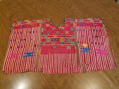 Vintage Striped And Hand Embroidered Huipil