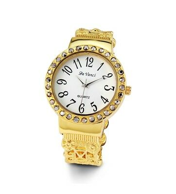 Ladies Vintage Style Silver Gold Tone CZ Bangle Watch-d3024gldwht