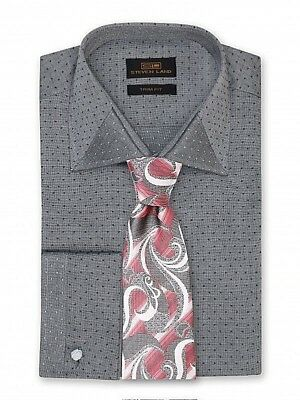 Dress Shirt Only by Steven Land Classic Fit French Cuff Blue//White DW1836-BL
