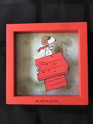 """Rare 2001 Limited Hallmark Peanuts Gallery """" Ace in Action """" Snoopy Shadow Box"""