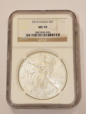 2013 Silver Eagle Ngc Certified Ms 70 Brown Label 1 Oz 999 Fine Silver $1 Coin
