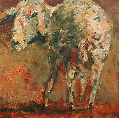 ELLE RAINES 12 x12 ORIGINAL SHEEP FOLK IMPRESSIONISM PAINTING STRETCHED CANVAS
