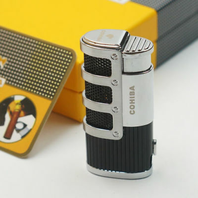 COHIBA Black Gridding Stripes 3 Torch Jet Flame Cigar Lighter+ Punch Smoking 422