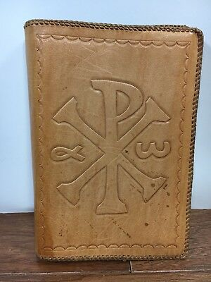 """Vtg Hand Tooled Leather Bible Book Cover Chi Rho Ichthys Made In France 6x9"""""""