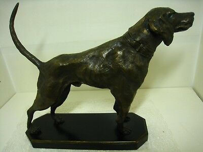 "POINTER Bird Hunting Dog Bronze Sculpture Statue 12""  **Excellent**"