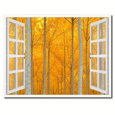 Autumn Yellow Trees Picture French Window Framed Canvas Print Home Decor Wall Ar