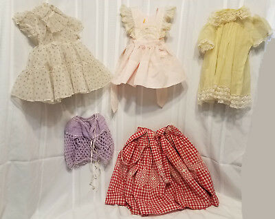 Vintage 50's Baby dresses, crocheted sweater and handmade pinafore