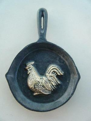 Vintage CAST IRON Skillet WALL/TABLE ~ Hanging Decoration With Rooster Relief
