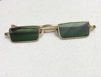 Antique / Vintage Brass Rectangle Green Lens Green Eyeglasses Spectacles