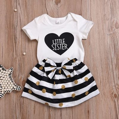Bowknot Letter Printed Striped Skirt Baby Clothing Suit Little Sister Bodysuit
