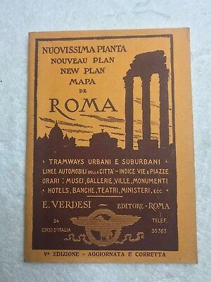 1931 New Plan Mapa De Roma Souvenir Travel Book