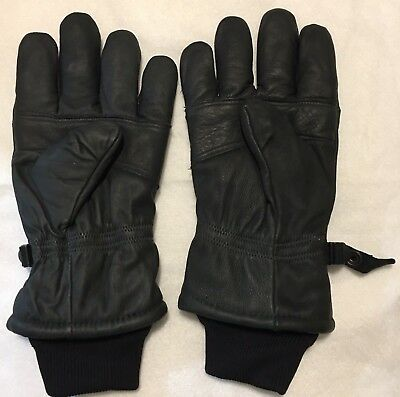 US Military Issue Black Leather Intermediate Cold Wet Weather Gloves Sz L