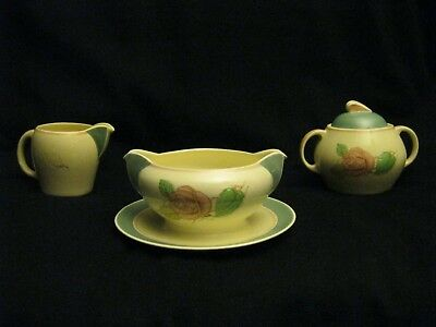 Rare Set 38-pc Susie Cooper Green Patricia Rose Serving Dishes Plates Bowls Cups