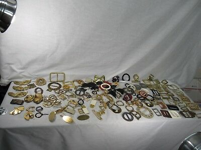Lot 100Plus Art Deco Vintage Brass Bakelite Lucite Belt Buckles Slides MuchMore