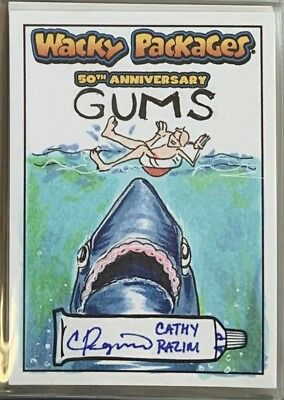 Topps Wacky Packages Sketch Card 50th Anniversary Cathy Razim GUMS
