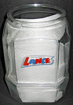 "Vintage LANCE CRACKERS 8 sided Glass Display Jar Canister 10.5"" tall no lid"