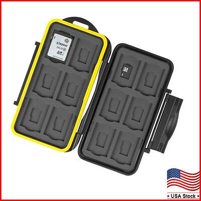 Memory Card Case Holder Storage Fits 12 SD+12 Micro SD TF Cards Water Resistant