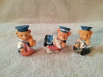 3 Teddy Bear Sailors Miniature Figurines Collectible Super Cute Teddy Lovers