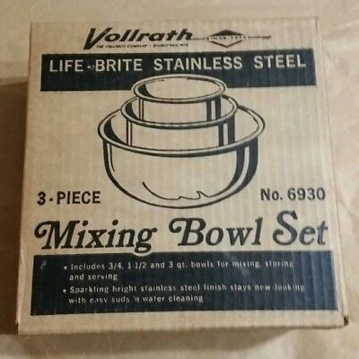 ~Nos~ Vollrath 3 Pc Set Nesting Mixing Serving Storing Bowl 6930 Stainless Steel