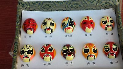 Collectible Chinese Miniature Masks Set Of 10 W/original Box