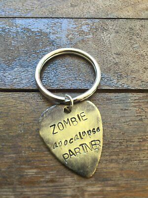 Zombie Apocalypse Partner - Antique Distressed Brass Guitar Pick Hand Stamped Pe