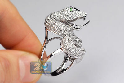 Gorgeous 925 Silver Emerald Snake Animal Ring Annversary Wedding Jewelry Size 6