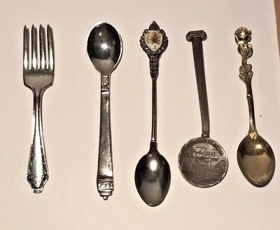 Lot of 5 Spoons Souvenir & Childs Wm. A. Rogers Fort Pewter Williamsburg VA Leaf