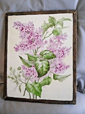 Large ANTIQUE Hand Painted TILE Victorian Lilacs Flowers Leaves Signed 1890