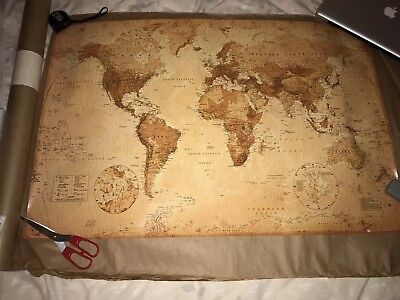 World Map Vintage Antique Style 91.5 X 61Cm