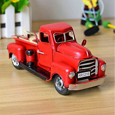 Vintage Red Metal Truck Easter Ornament Kids Xmas Gifts Toy Table Top Decor