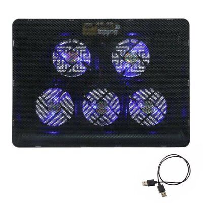 Gaming 5 Fans LED USB Cooling Stand Pad Cooler For 12''-17'' Laptop Notebook T1