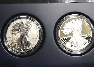 2012 S American Silver Eagle SAN FRANCISCO TWO COIN SET Proof & Reverse OGP
