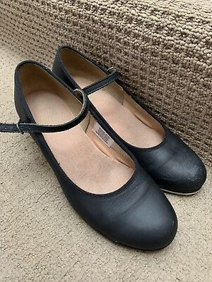 Bloch Tap Girls Black Leather Mary Jane Style Tap Shoes Size 6