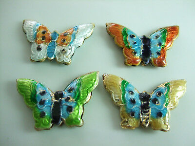 Cloisonne Butterfly Beads Enamel Style Multicolor Pack Of 4 With 28Mm Wingspan