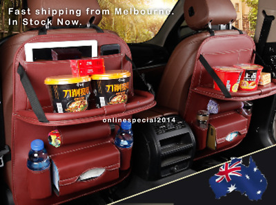 Car back seat cover with multi storage organiser and foldable table as food tray