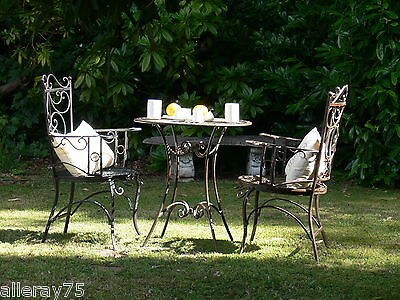 FRENCH patio setting  TABLE +2 CHAIRS WROUGHT IRON OUTDOOR QUALITY solid metal