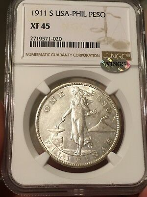 1911-S U.S. Philippines Peso NGC XF-45, silver WINGS. Blast white, Make Offer!